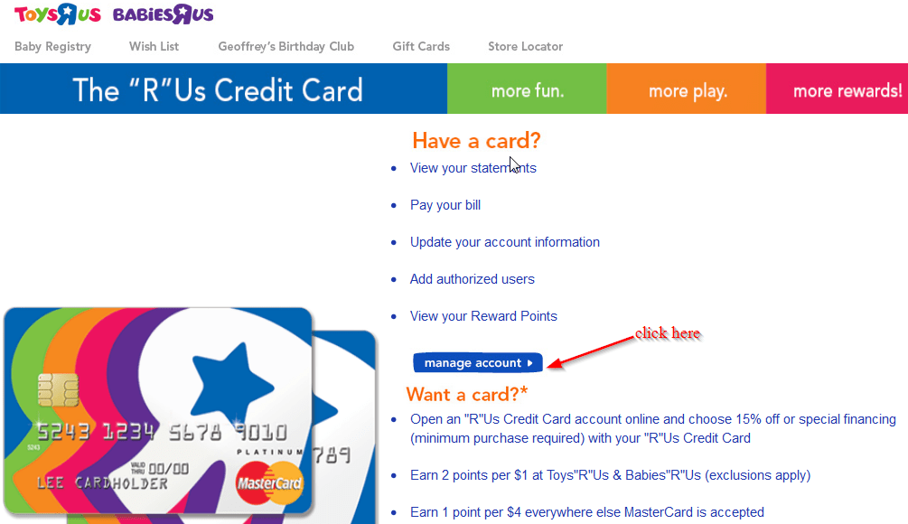 Toys r us credit card payment login