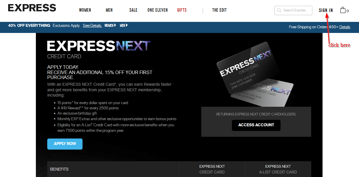 Express Next Credit Card Online