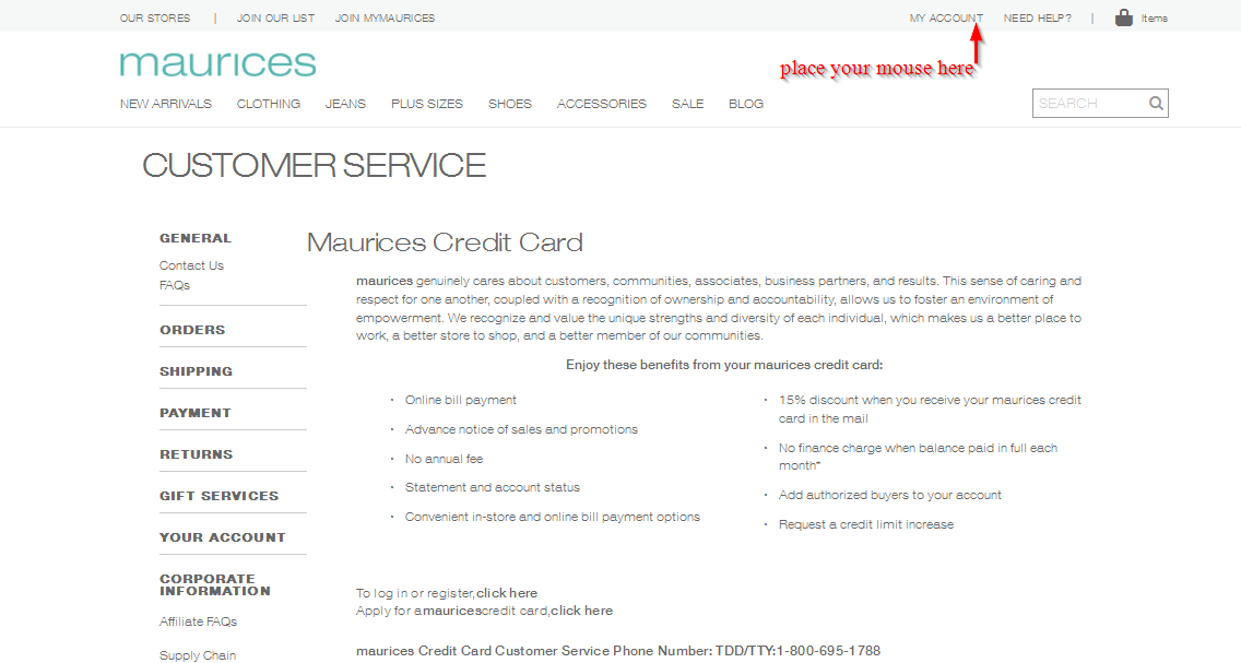 Maurices credit cards