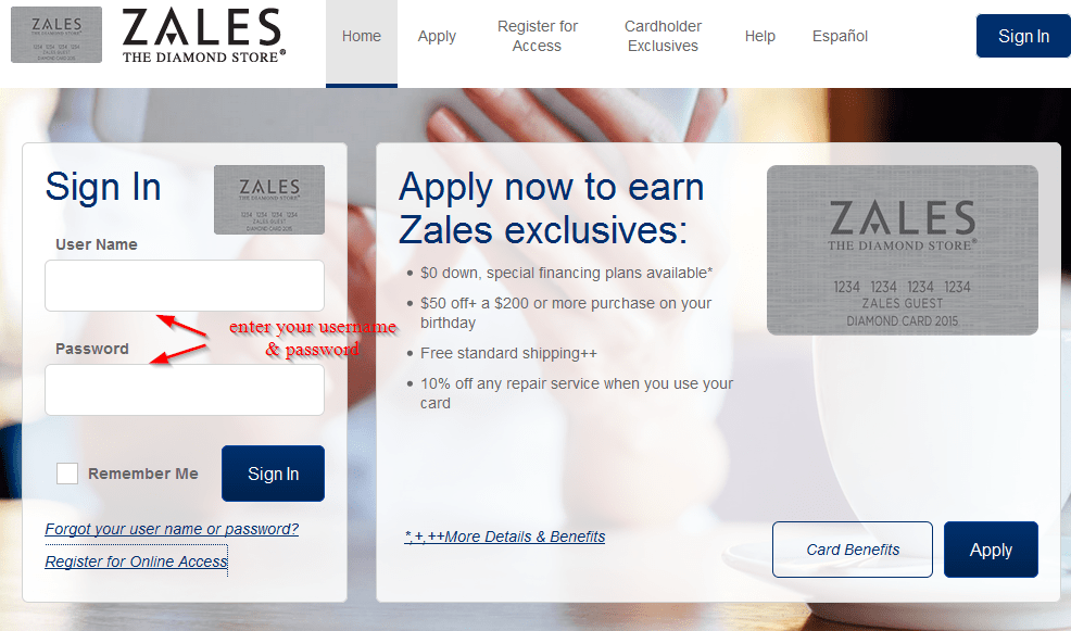 Zales credit card sign in