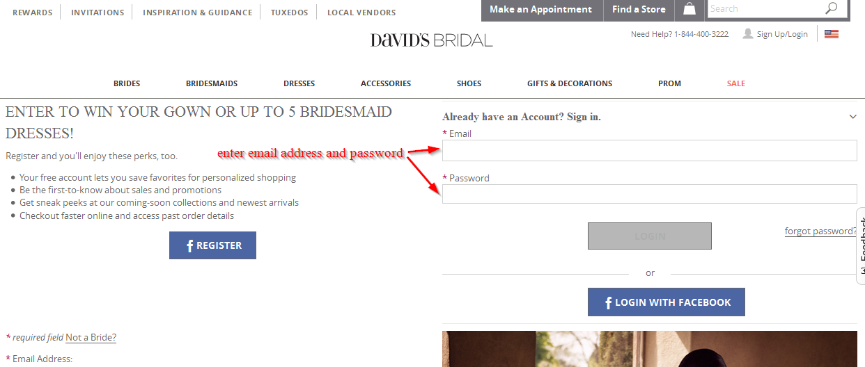 Www.davidsbridal.com carte de crédit