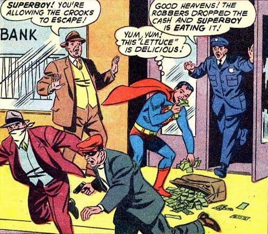Superboy saves the day, and then eating the money!
