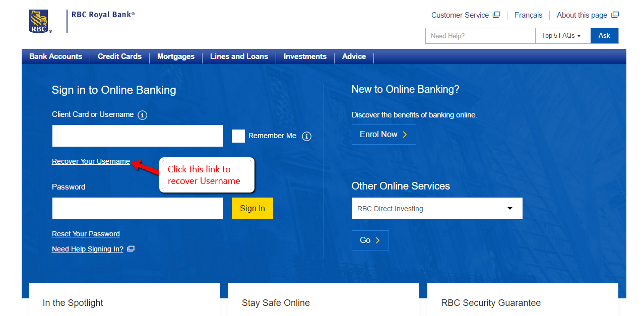 how to change user name rbc online
