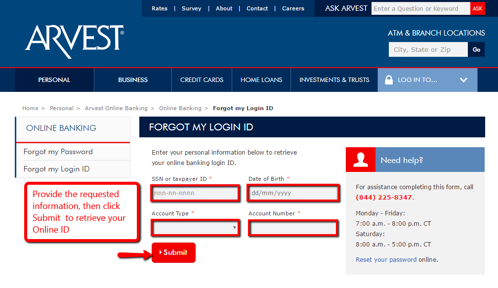 arvest bank online banking login cc bank rh ccbank us
