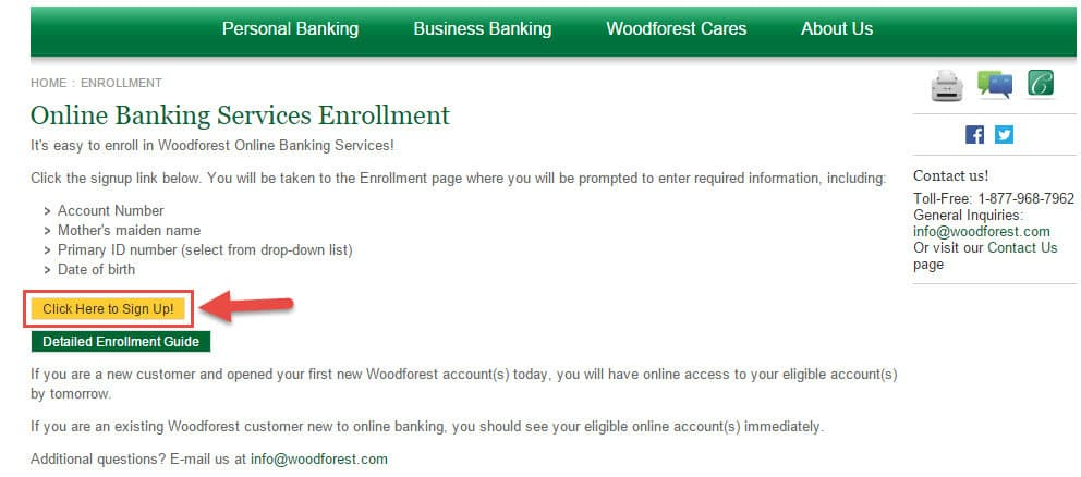 woodforest-enrollment-page